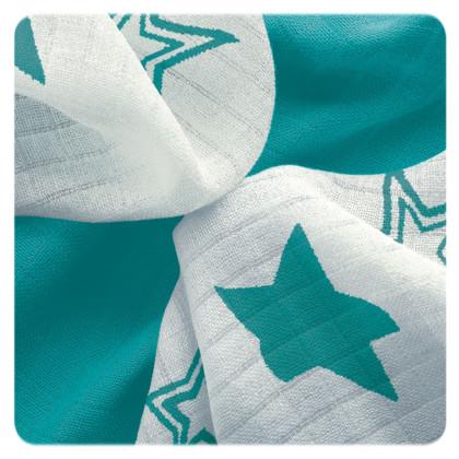 XKKO BMB Bambuswindeln 30x30 - Turquoise Stars MIX 9er Pack