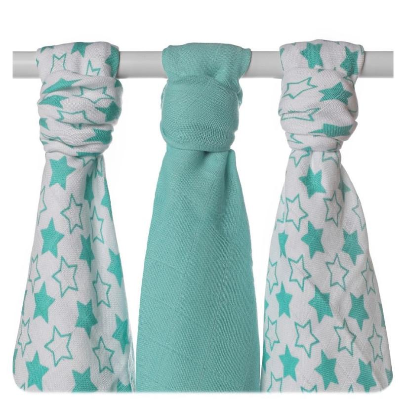 XKKO BMB Musselin Bambuswindeln 70x70 - Little Stars Turquoise MIX 3er Pack