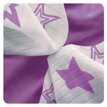 XKKO BMB Bambuswindeln 30x30 - Lilac Stars MIX 9er Pack