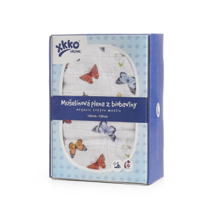 XKKO Organic Bio-Baumwolle Windel 120x120 - Butterflies 1St.