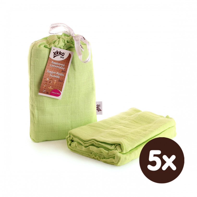 XKKO BMB Bambus Musselinwickeltuch 120x120 - Lime 5x1 St. (GH packung)