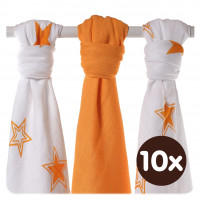 XKKO BMB Musselin Bambuswindeln 70x70 - Orange Stars MIX 10x3er Pack (GH packung)