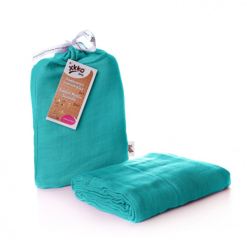 XKKO BMB Bambus Musselinwickeltuch 120x120 - Turquoise 5x1 St. (GH packung)