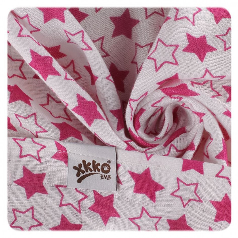 XKKO BMB Musselin Bambuswindeln 70x70 - Little Stars Magenta MIX 10x3er Pack (GH packung)
